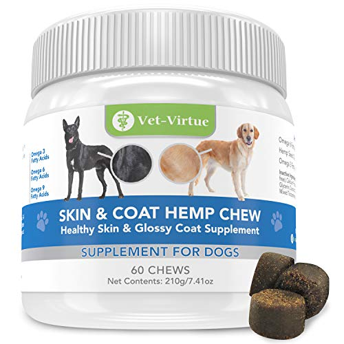 VET-VIRTUE Omega 3 for Dogs - Skin and Coat Soft Chew with Fish Oil for Dogs, Coconut Oil, EPA and DHA Supports Dog Skin Allergy Treatment for Itch-Free Skin, Increase Shiny Coat, Reduce Hot Spots
