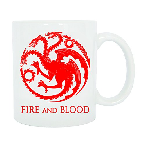 CHEIDEASTORE Tazza Mug Fire And Blood Targaryen Game of Thrones Trono di Spade (Rosso)