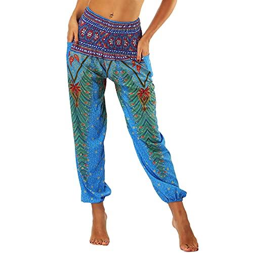 Nuofengkudu Baggy Aladdin Hippie Pants for Women Boho Patterned Smocked...