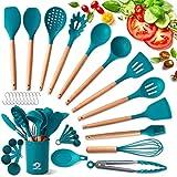 COPLIB Silicone Cooking Utensils Set, 34pcs Kitchen Utensil Set with Holder, Non-stick Cookware, Heat Resistant Kitchen Gadgets Utensil Gift,Blue