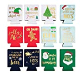 Christmas Can Sleeves for Cold Drinks (12 Designs, 12 Pack)