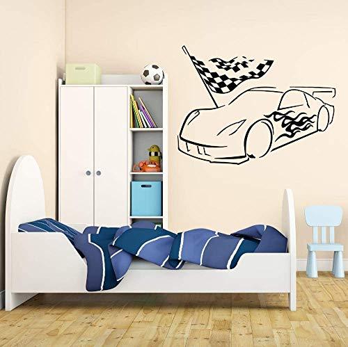 Calcomanía De Pared De Vinilo Garage Car Racing Racer Boy Room Stickers Mural Removable Bedroom Livingroom Wallpaper Poster Decor 42X56Cm