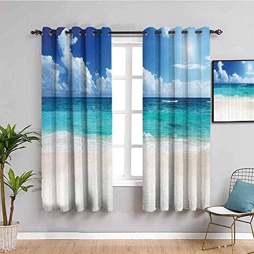 Nileco Cortinas de Opacas - Azul mar playa paisaje - 264x160 cm - 3D Impresión Digital con Ojales Aislamiento Térmico - para Sala Cuarto Comedor Salon Cocina Habitación
