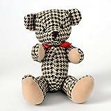 HAB & GUT -UD005V-A- Osito de Peluche Finn, Oso de Felpa destacado, Animal de Trapo, Pata de Gallo Negro, marrón, Beige, 19 cm
