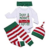 Borlai Baby-Weihnachtsset mit Buchstaben-Druck, Strampler + gestreifte Hose & Mütze + Schleife Haarband Baby Geschenkset, 6-12 Monate