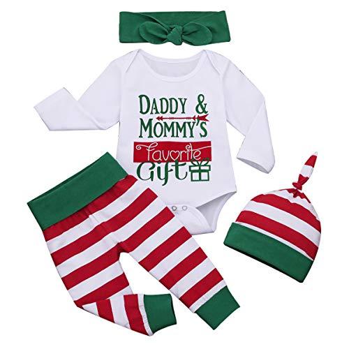 Borlai Baby-Weihnachtsset mit Buchstaben-Druck, Strampler + gestreifte Hose & Mütze + Schleife Haarband Baby Geschenkset, 0-6 Monate