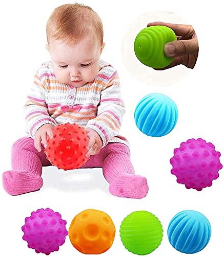 VintageⅢ 4 bolas sensoriales para niños pequeños masajes a mano, juguete para capturar juguetes para niños pequeños bolas sensoriales con efecto de sonido ⭐