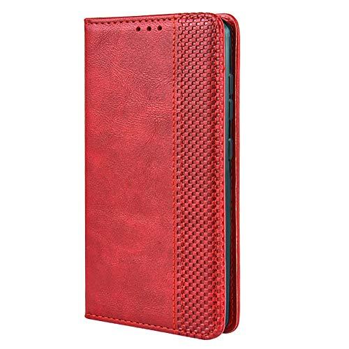 TANYO Leder Folio Hülle für LG Velvet 4G / 5G, Premium Flip Wallet Tasche mit Kartensteckplätzen, PU/TPU Lederhülle Handyhülle Schutzhülle - Rot