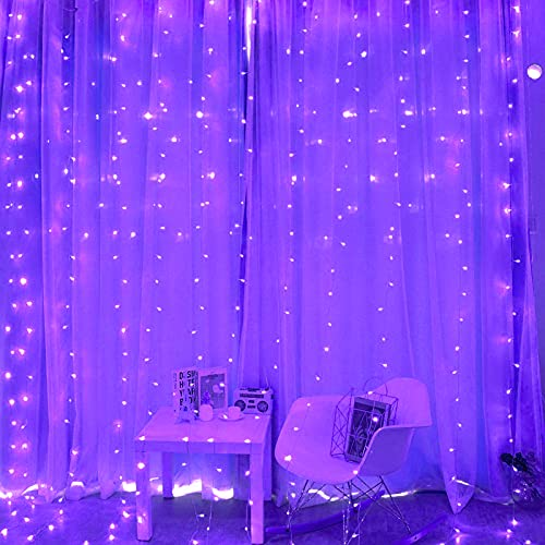 Greenke Twinkle String Fairy Curtain Lights (300 Led, 8 Modes Remote Timer, Purple) for Christmas, Party, Wedding, Bedroom Wall Decoration