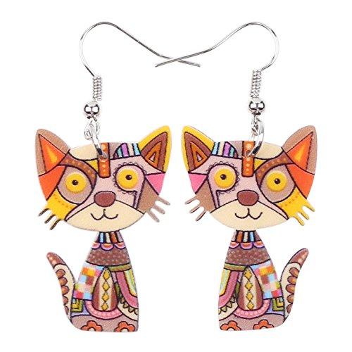 Bonsny, orecchini a forma di gatto, in acrilico, con ciondolo a forma di gattino, per donne e ragazze e Acciaio inossidabile, colore: Marrone, cod. 418652709