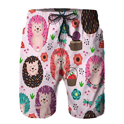 Aerokarbon Hombres Playa Bañador Shorts,patrón Transparente Rosa con erizos de Colores,Traje de baño con Forro de Malla de Secado rápido XL