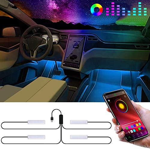 Auto LED Innenbeleuchtung 4 st/ücke 72 LED DC 12 V Multicolor Musik Auto Innenbeleuchtung LED Unter Dash Lighting Kit