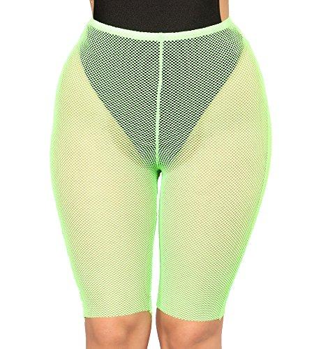 Multitrust Sexy Women See Through Mesh Fishnet Swimsuit Cover Up Shorts Bikini Bottom Cover-up Pants (Green, XL)