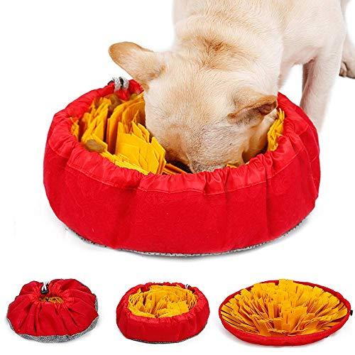 LIVACASA Schnüffelteppich Hunde Schnüffelrasen Waschbar Faltbar Riechen Trainieren Matte rutschfest Schadstofffrei Schnüffeldecke Intelligenz Hundespielzeug Schnüffelspielzeug Anti Schling Napf Gelb