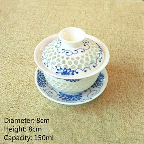 22222Copa Tazza Da Tè Cinese A Nido D'Ape In Ceramica Gaiwan Kungfu Tazze Da Tè E Piattino In Porcellana Style-1-S