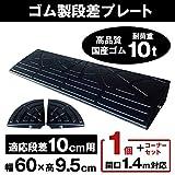 ナフサ ゴム製段差プレート DANSAのぼるくん 段差10cm用 お得なワイドタイプ+両コーナーセット (1個セット)