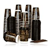 100 Pack | Premium 12 oz Disposable Coffee Cups with Lids and Stirrer Straws | 12 ounce Do...