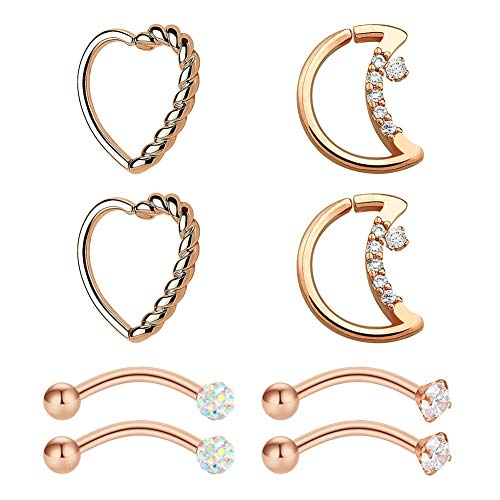 Mayhoop 8Pcs 16G Rook Conch Earring Surgical Steel Rose Gold Moon & Heart shaped Rings Curved Barbell Eyebrow Rings Snug Daith Tragus Helix Earrings Piercing Jewellery