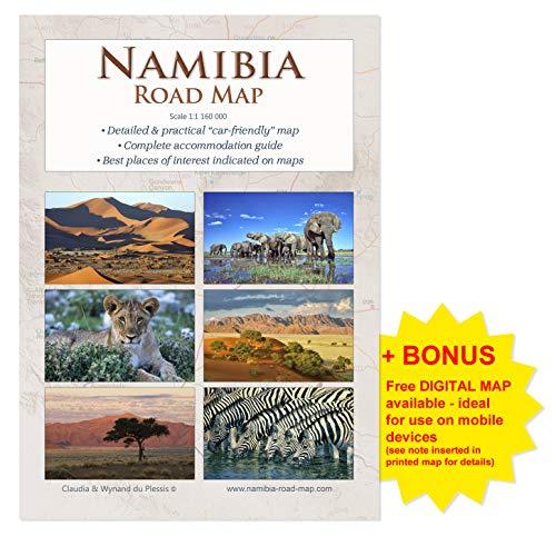Detaillierte Reisekarte NAMIBIA ROAD MAP (1:1.160.000), Praktisches A4 Heft, übersichtlich & zuverlässig, ideal für Planung & Reise, alle Straßen, Unterkünfte & Sehenswürdigkeiten