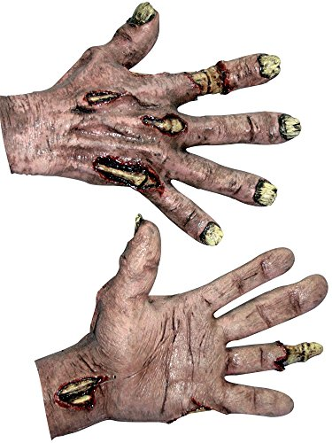 Ghoulish Productions Zombie Flesh Hands Costume Gloves, Red / Beige, One Size