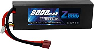 Zeee Lipo Battery 7.4V 100C 8000mAh Hard Case with Deans T Plug for RC Car RC Truck RC Truggy RC Boat Helicopter (Wires soldered)