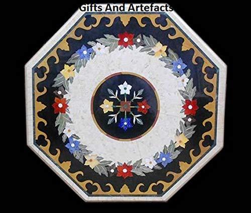 Gifts And Artefacts Pietra Dura Art Table basse octogonale en marbre avec pierres semi-précieuses Peut être utilisée comme table de réunion de bureau
