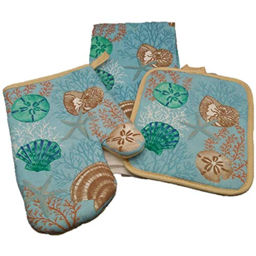 Oven Mitt Set - Kitchen Decorations - Off to The Beach and Bring Sea Horse Star Fish and Sand Dollars Into The Kitchen - Dish Towel - Oven Mitt - Pot Holder - Kitchen Decor