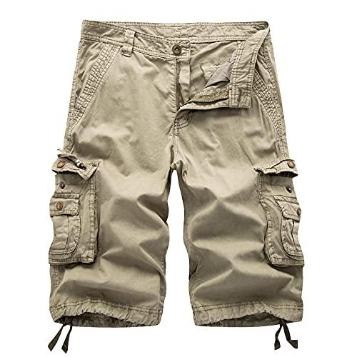 Pantalones Cortos de Carga para Hombres, Pantalones Cortos de Carga, Pantalones Cortos de algodón para Exteriores con múltiples Bolsillos, de Corte Relajado, Grandes y Altos