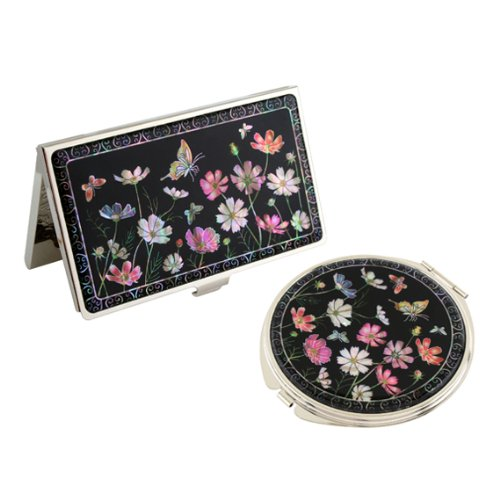 Mother of Pearl Pink Cosmos Flower Design Double Compact Mirror Business Credit Name Card Holder Set Stainless Steel Engraved Slim Id Money Case