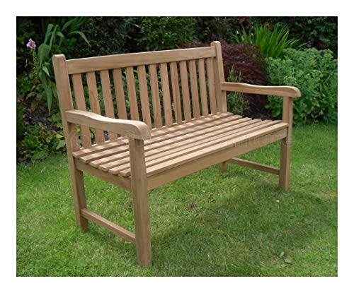4ft 120cms 1.2m Chunky Teak 2 Seat Garden Park Bench Java Garden Furniture...