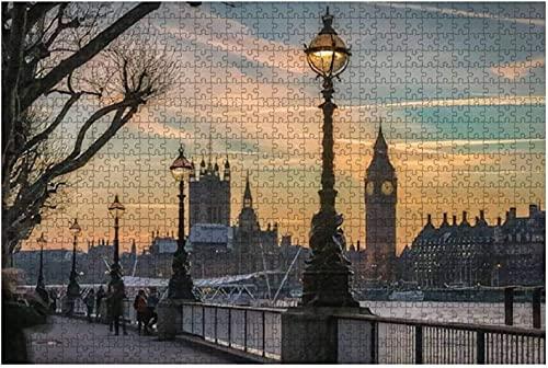 500 piezas: la ciudad de Westminster en Londres Reino Unido al atardecer en invierno Rompecabezas de madera DIY Rompecabezas educativos para niños Regalo de descompresión para adultos Juegos creativo