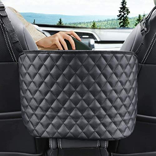 Car Handbag Holder, CAMTOA Leather Car Seat Back Organizer & Storage Pocket Net Bag, Hanging Storage Bag Between Car Seats, Barrier of Backseat Pet Kids