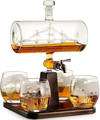 YOUXD Scotch Whisky Decanter, M16 Big Pistole Weißwein Dekanter 1000ml, Mit 4 Kugeln Cup, Schöner Holzsockel, Scotch Und Wodka Schnapsglas-Set