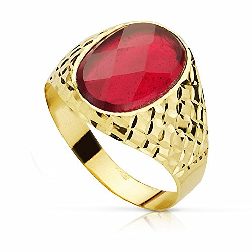 Sello oro 18k piedra espinela roja 14mm. oval [AA2304]