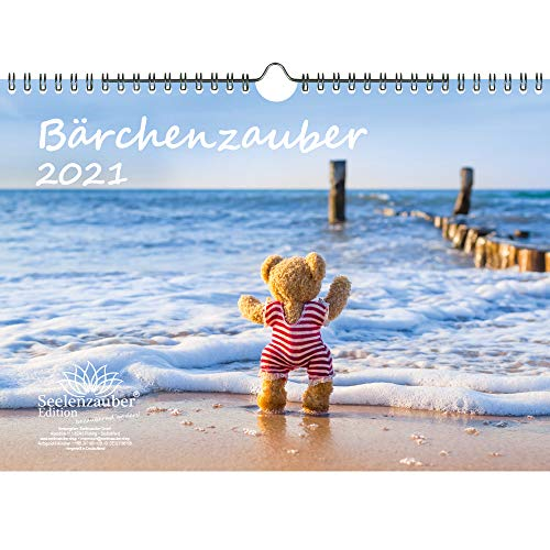 Bärchenzauber DIN A4 Kalender für 2021 Teddy und Bärchen - Geschenkset Inhalt: 1x Kalender, 1x Weihnachts- und 1x Grußkarte (insgesamt 3 Teile)