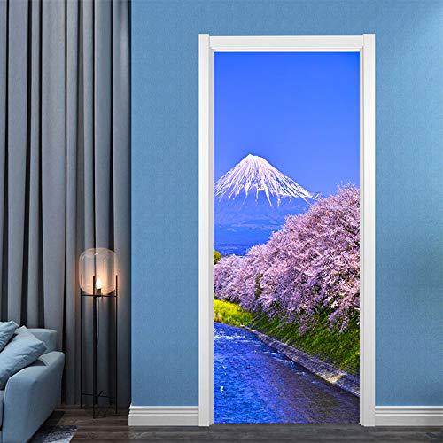 LLWYH Türaufkleber Sakura Mount Fuji 3D Abnehmbares Wasserdichtes Selbstklebendes Türplakat Aus Wasserdichtem PVC Fototapete Türfolie Poster Tapete 90x200cm