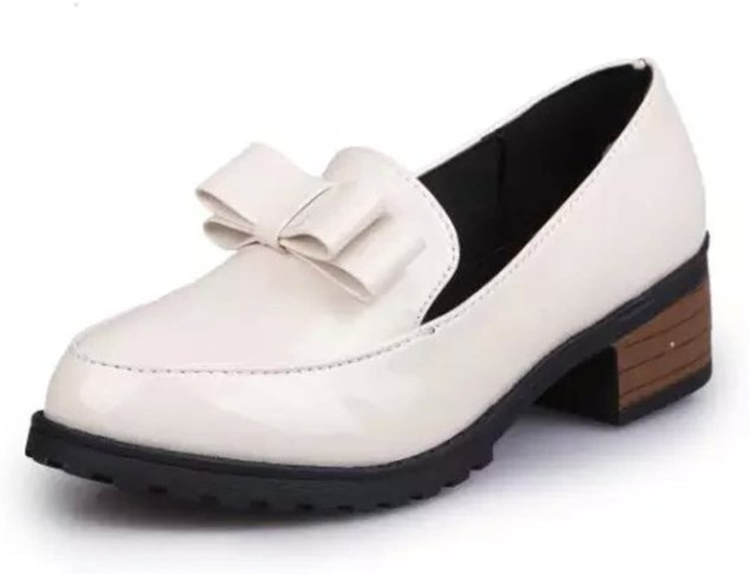 Coarse bow shoes with feet in spring Casual shoes with light, circular head