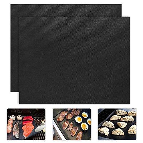 PENVEAT Lot de 2 tapis de barbecue en PTFE de 0,2 mm d'épaisseur - 33 x 40 cm - Antiadhésifs et réutilisables