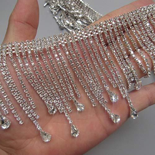 30cm Bling Diamante Diamond Trim Ribbon Tassel Fringe Rhinestone 7.8cm Width Chain Crystal Gem Sparkle Wedding Bridal Necklace Prom Evening Dress Applique Show Accessories Sash Belt Headwear Craft