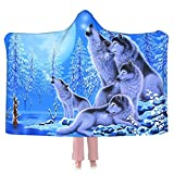 Blanket Hoodie Wolf Family Hooded Blanket Wearable Blanket-Super Soft Plush Warm Blanket Throw Blankets Fit for Kids,Teens,Adults