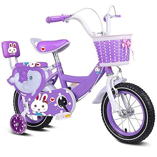 DREAMyun Bicicletta per Bambini Ragazza 3-9 Anni Freestyle BMX 12 14 16 18 Pollici Bicicletta Bambini con Le Ruote Bici per Bambini,Viola,14'