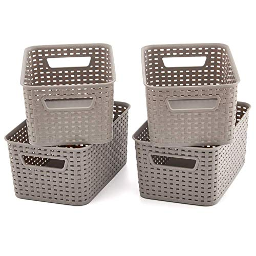 EZOWare 4 pcs Cestas de Almacenaje Multiuso, Cajas Organizadoras de Plástico con Efecto de Mimbre y Asas para Cocina, Baño - Gris
