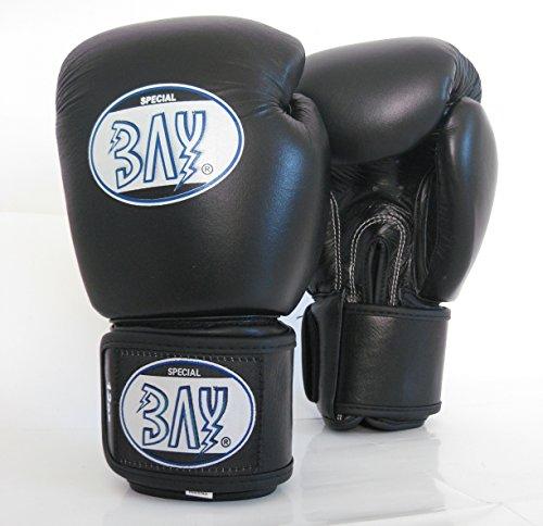 BAY® KO-Fighter PROFI Boxhandschuhe schwarz, 16 Unzen, ECHTES RINDERLEDER Box-Handschuhe, Boxhandschuh Boxing Glover, Leder, UZ OZ, Damen Herren KINDER KIDS Muay Thai Thaiboxen Boxen Kickboxen MMA K-1