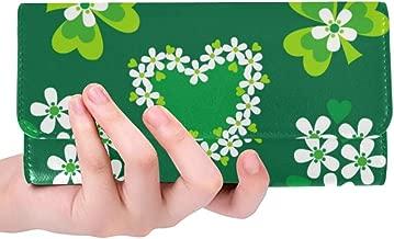 Unique Custom St Patricks Day Shamrocks And Green Hearts Pattern Women Trifold Wallet Long Purse Credit Card Holder Case Handbag