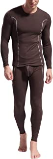 Jinqiuyuan Men's Long Johns Set Bamboo Fiber Soft Thermal Underwear Comfortable Mens Leggings Warm Sleepwear for Winter (Color : Brown, Size : L)