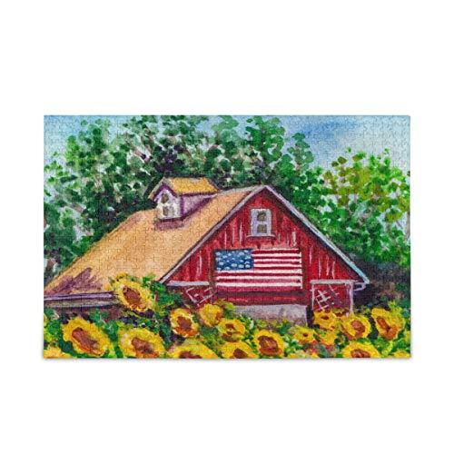 ISAOA Puzzle de 500 piezas para niños adultos, girasoles en la granja Vintage gran juego de rompecabezas juguetes regalo