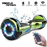 Mega Motion 6.5 Pouces Gyropode Balance Board,Scooter électrique d'auto-équilibre,Skateboard de Haute qualité,2272 LED certifié,Roues LED Light,Haut-Parleur Bluetooth,Moteur 700W