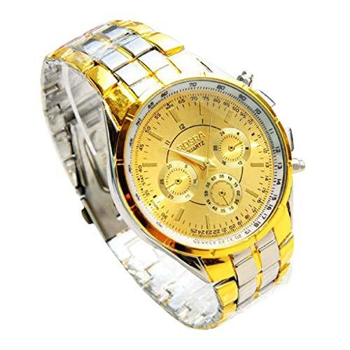 Challeng Herrenuhr Damenuhr Militär-Edelstahl-Datums-Sport-Quarz-Analoge Armbanduhr Wasserdicht Elegante Uhr (B, One Size)