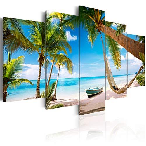 decomonkey Bilder Strand Palmen 200x100 cm 5 Teilig Leinwandbilder Bild auf Leinwand Wandbild Kunstdruck Wanddeko Wand Wohnzimmer Wanddekoration Deko Meer Insel