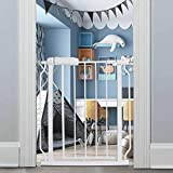 Fairy Baby Narrow Baby Gate 27 Inch to 29 Inch Wide, Small Auto Close Walk Through Safety Gates Pressure Mounted for Stairs Doorways Kids or Pets,White
